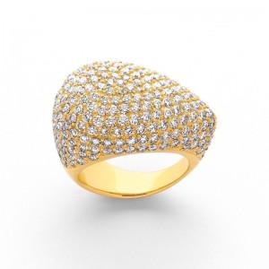 Bague pavage multi-Diamants 4 Carats G VS2 Or jaune
