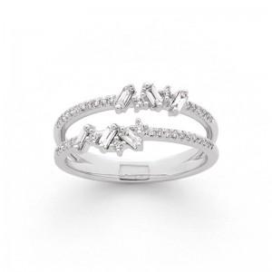 Bague Diamants 0,30 Carat H SI 2 rangs Or blanc