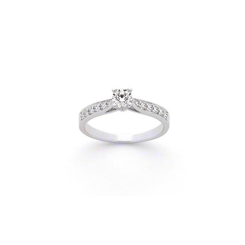 Solitaire Diamant 0,20 Carat H SI 4 griffes accompagné 0,19 Carat Or blanc