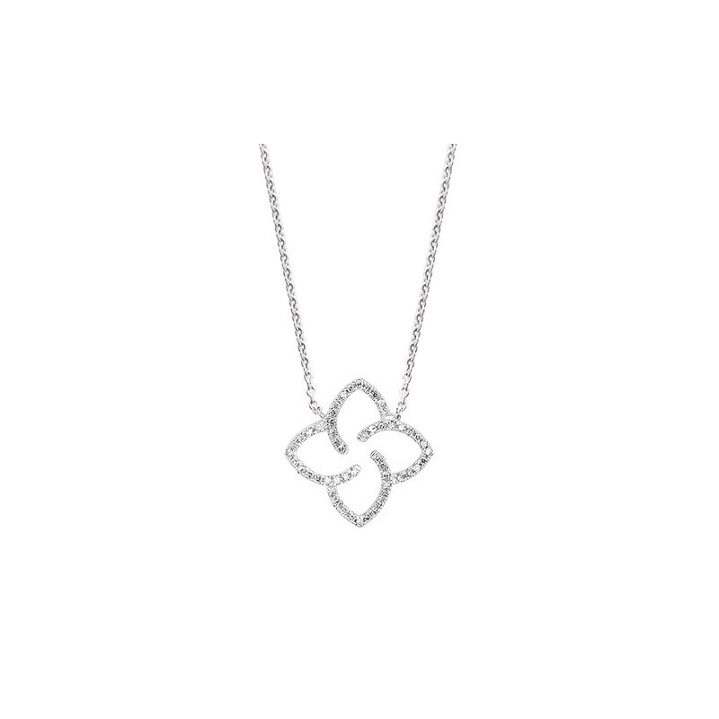 Pendentif Diamants 0,08 Carat fleur de lotus Or blanc