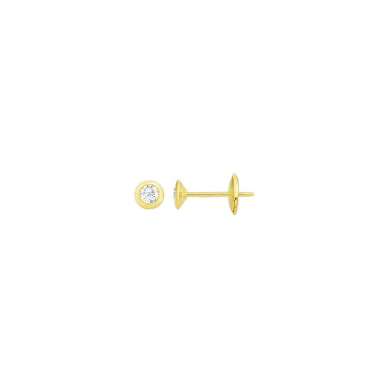 Boutons d'oreilles Diamants 0,20 Carat G SI serti clos Or jaune