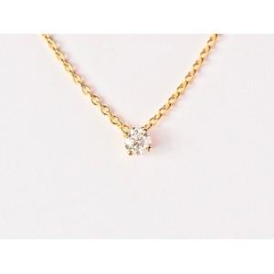 Pendentif Diamant 0,15 Carat G SI 4 griffes bélière invisible Or jaune