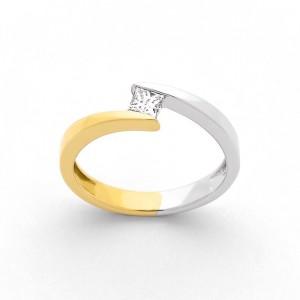 """Solitaire Diamant 0,20 Carat GSI """"Twin"""" Or jaune et Or blanc"""