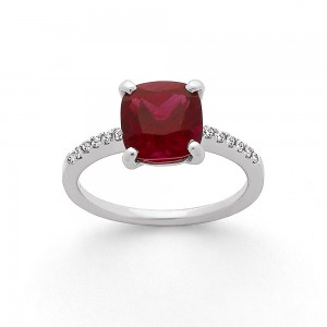 Bague Rubellite 2,60 Carats et Diamants 0,07 Carat G VS Or blanc