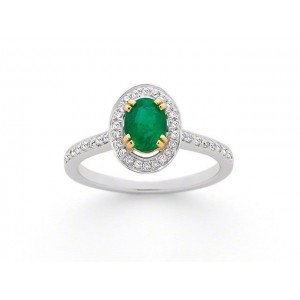 Bague Emeraude 0,63 Carat entourage Diamants 0,28 Carat G SI Or blanc