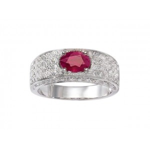 Bague Rubis 0,90 Carat et Diamants 0,77 Carat H SI Or blanc