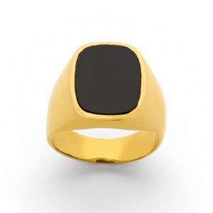 Chevalière Homme rectangulaire Onyx & Or jaune