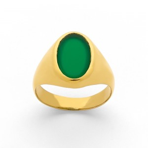 Chevalière Homme ovale Agate teintée verte & Or jaune