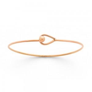 Bracelet Jonc rigide ouvrant fermoir boutonnière fil rond 1,5mm Or rose