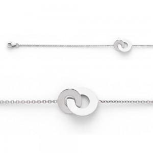 Bracelet avec motif 2 disques 10 et 14mm Or blanc