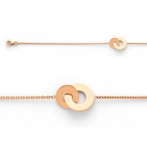 Bracelet avec motif 2 disques 10 et 14mm Or rose