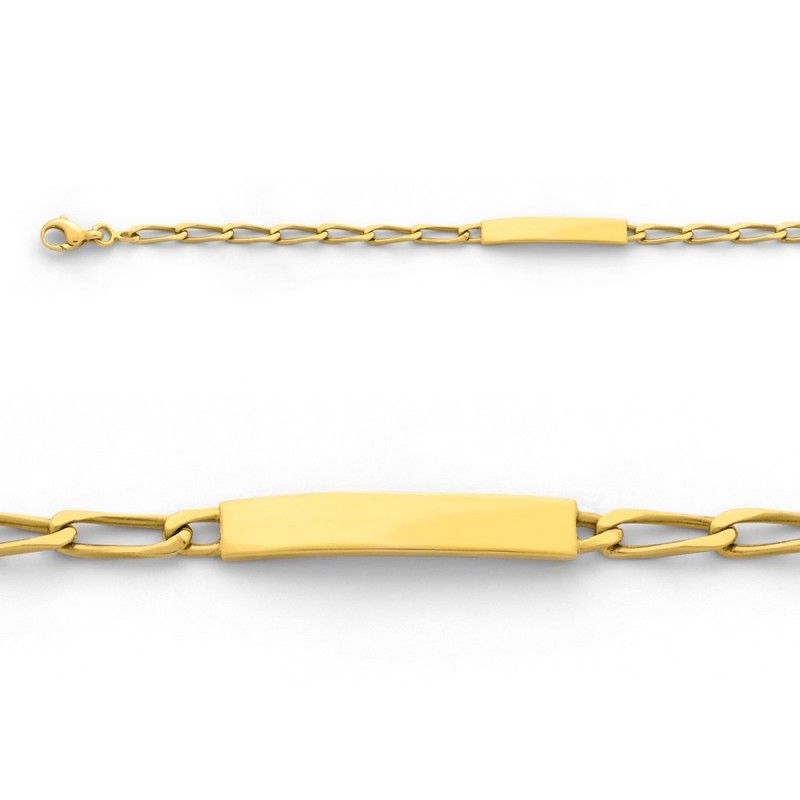 Bracelet identité bébé Maille Cheval 3 mm Or jaune