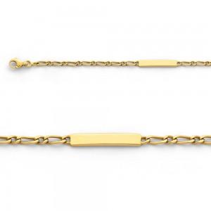 Bracelet identité bébé Maille Alternée 1/1 3 mm Or jaune
