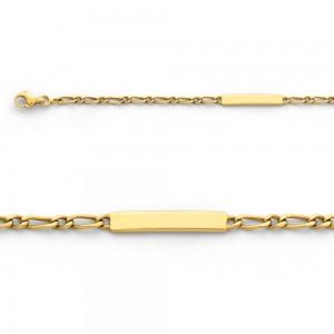 Bracelet identité bébé Maille Alternée 1/1 3 mm Or jaune-1