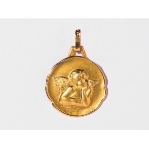 Médaille Ange de Raphaël 17mm Or Jaune 9 Carats