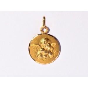 Médaille Ange de Raphaël 16mm Or Jaune 9 Carats