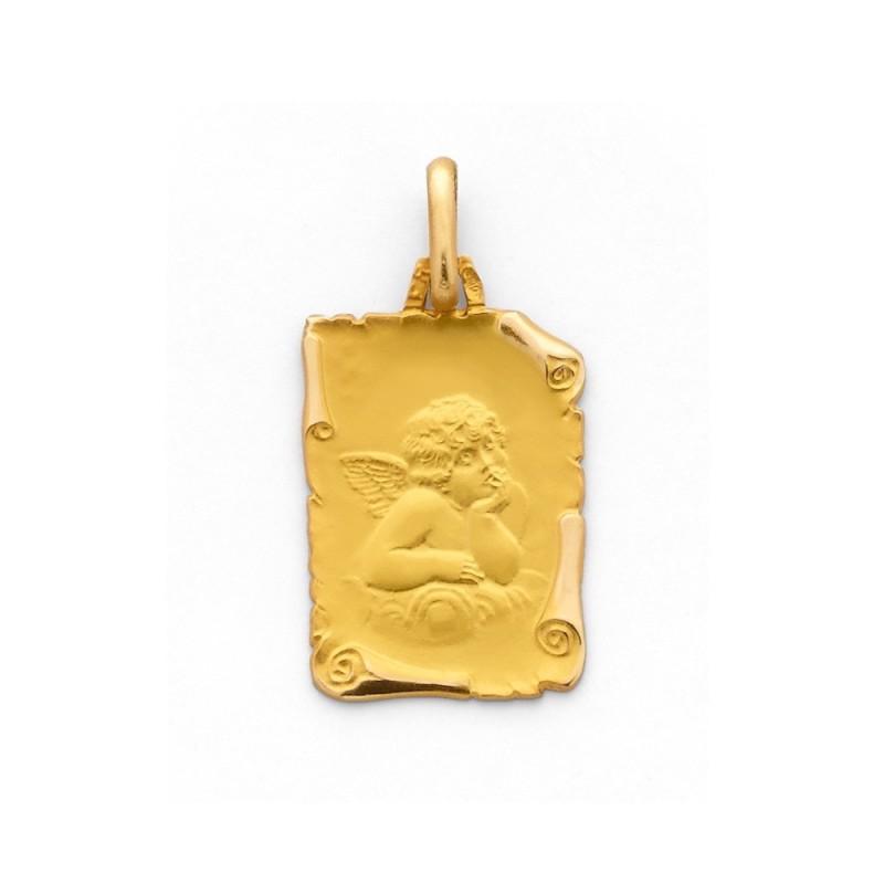 Médaille Ange sur parchemin 17mm Or Jaune 9 Carats