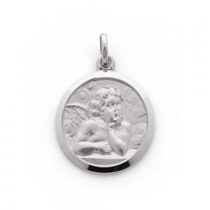 Médaille Ange de Raphaël 19mm Or Blanc 9 Carats