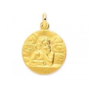 Médaille Ange de Raphaël 18mm Or Jaune 9 Carats
