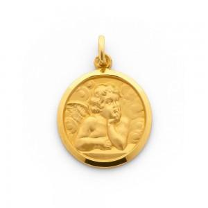 Médaille Ange de Raphaël 19mm Or Jaune 9 Carats