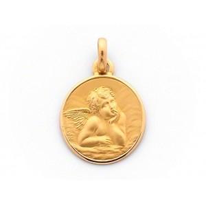 Médaille Ange de Raphaël 15mm Or Jaune 9 Carats