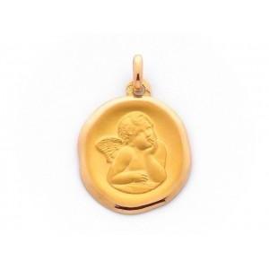 Médaille Ange de Raphaël 18mm en cachet Or Jaune 9 Carats