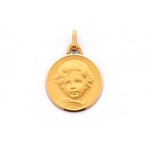 Médaille Chérubin 18mm Or Jaune 9 Carats