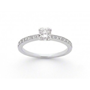 Solitaire Diamant taille Lucére© 0,55 Carat E VS2 accompagné Or blanc