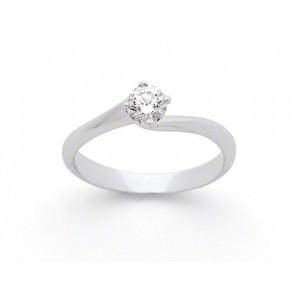 Solitaire Diamant 0,17 Carat H SI 4 griffes tourbillon Or blanc