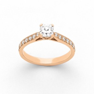 Solitaire Diamant taille Lucére© 0,55 Carat F VS1 accompagné Or rose