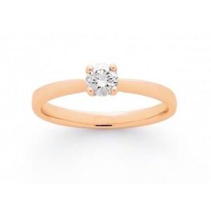 Solitaire Diamant 0,18 Carat F VS 4 griffes Or rose