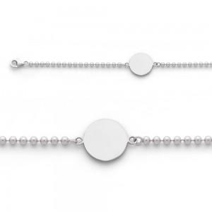 Bracelet identité bébé Maille Boule Or blanc
