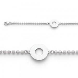 Bracelet identité bébé Maille Boule Or blanc-1