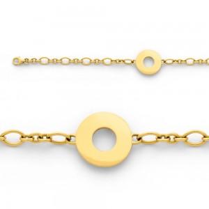 Bracelet identite bébé mailles forcat alterné 1/3 Or jaune