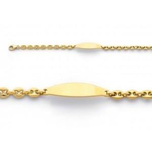 Bracelet identité bébé grains de café massif Or jaune
