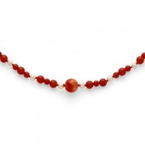 Collier Perles de culture Akoya Japon, Perles eau douce, Perles Cornaline