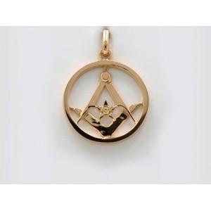 Pendentif symbolique Cercle, Equerre et Compas Or jaune
