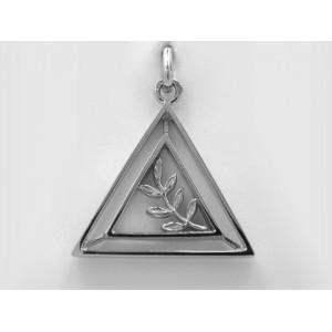 Pendentif symbolique Double Triangle et Branche d'accacia Or blanc