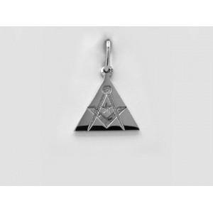Pendentif symbolique Triangle gravé Compas, Equerre Or blanc