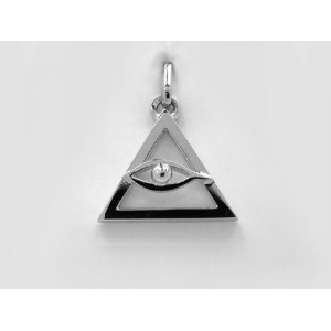 Pendentif symbolique Triangle & etoelig il Or blanc