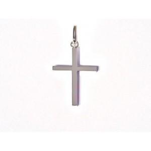 Croix chrétienne unie fil carré 22mm massive Or blanc
