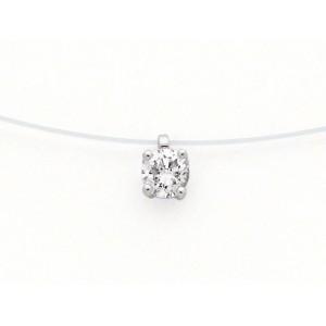 Pendentif Diamant 0,21 Carat F VS 4 griffes Fil nylon Or blanc