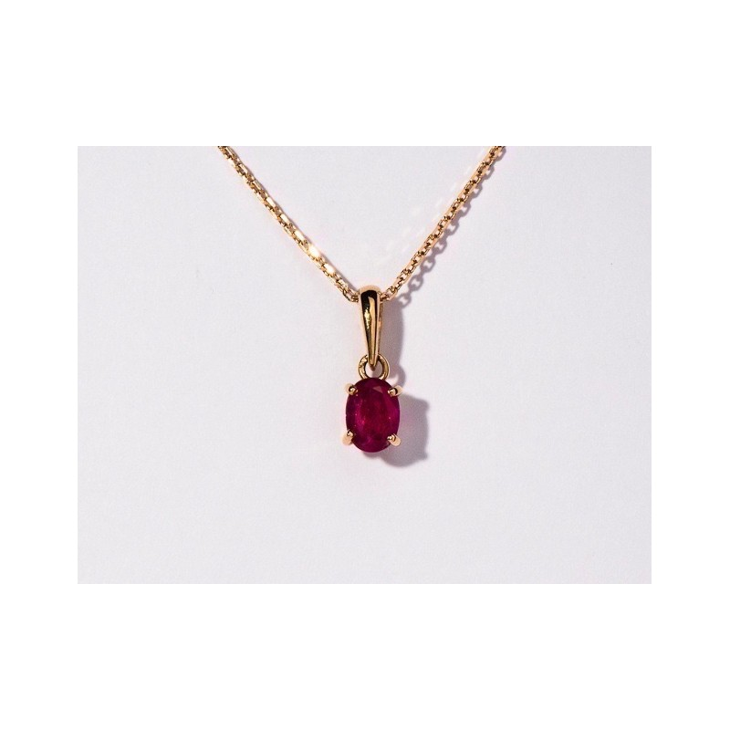 Pendentif Rubis 1,30 Carats taille ovale Or jaune