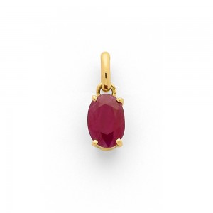 Pendentif Rubis 1,52 Carats taille ovale Or jaune