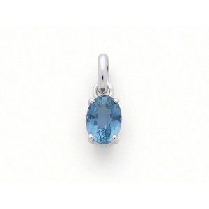 Pendentif Saphir 1,25 Carats taille ovale Or blanc