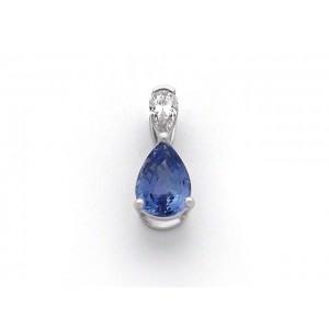 Pendentif Saphir 1,79 Carats taille poire et Diamant 0,21 Carat F VVS Or Blanc