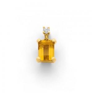 Pendentif Citrine 1,48 Carats et Diamant 0,05 Carat G VS Or jaune