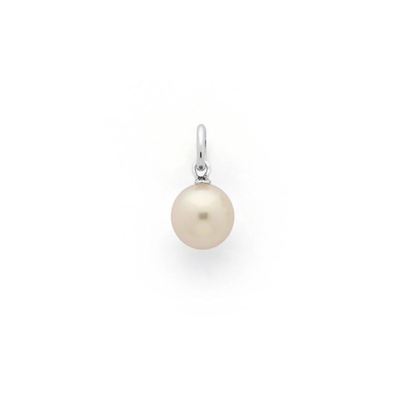 Pendentif perle de culture Akoya Japon ronde 7,0mm Or blanc