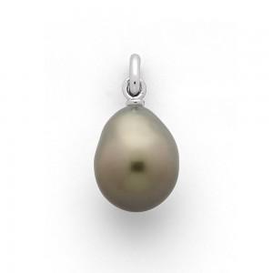 Pendentif Perle de Tahiti poire 9,5mm Or blanc