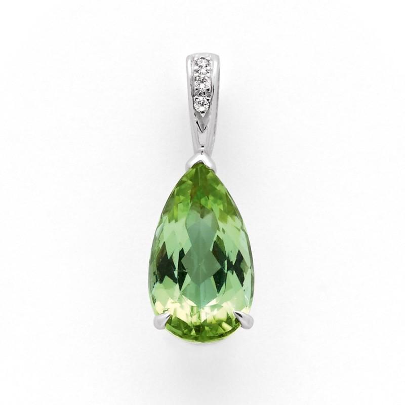 Pendentif Tourmaline verte mint poire Diamants 0,02 Carat G VS Or blanc